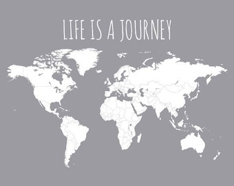 Life is a Journey World Travel Map, Office Decor, Wall Map Poster, Map Gift, Farewell Gift, Coworker Gift, World Map 11x14 or 16x20
