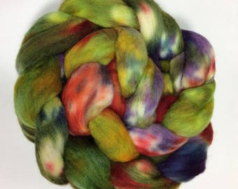 merino spinning fiber, 4.8 oz, hand-dyed roving, kettle-dyed, combed top - greens, purples, golds