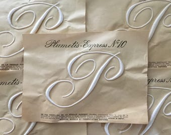 P  / J  / T French Antique Monogram 'Plumetis Express No10' New Old Stock