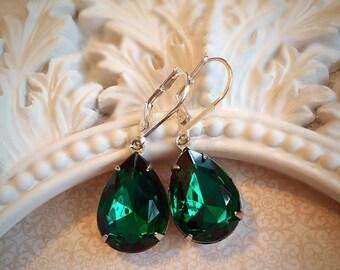 Emerald Earrings - Art Deco Jewelry - Silver Emerald Jewelry - CAMBRIDGE Emerald