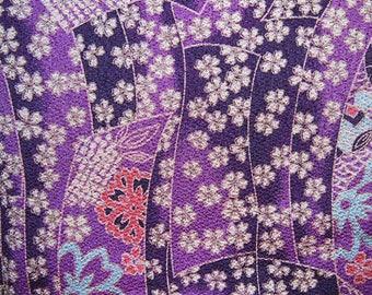 Japanese Chirimen canvas purple violet 120 * 50 cm