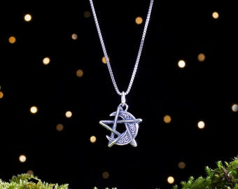 Sterling Silver Crescent Moon Pentagram - Double Sided - (Pendant Only or Necklace)
