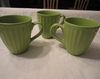 Lime Green Ribbed Coffee Mugs Retro Set Of Three Cups
