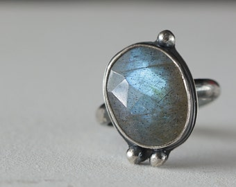 Boho Labradorite Cocktail Ring in Sterling Silver size 7.5, Ready to Ship