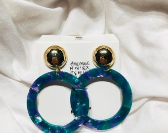 Women Hoop Earrings Resin Tortoise Green Blue Light Hand Crafted 'One-and-Only'