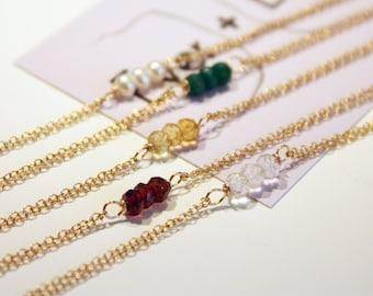 Petite Gold Birthstone Bracelet - 14k Gold-Fill, Gemstones, Pearls - Choose Your Gemstone