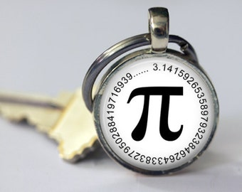 Pi Symbol Key Chain - Math Geek Key Chain - Choice of Color - 25mm Round