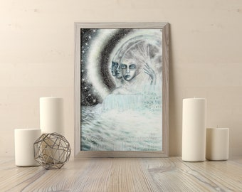 The Moon - Tarot Oracle Card Art - The Moon Card- Tree Talker Art - Rachael Caringella