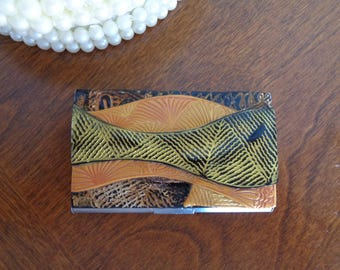 Business card holder, credit card holder, bronze and gold textured polymer clay