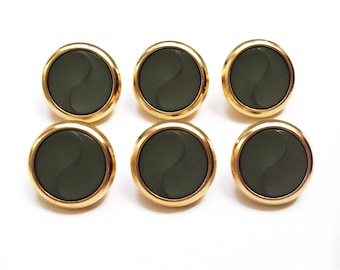 6 buttons round khaki and gold 19 mm acrylic