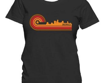 Retro Style Greenville South Carolina Skyline Women's T-Shirt
