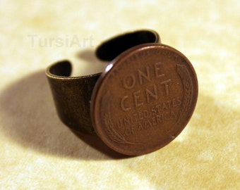 Wheat Penny Ring U.S. Lincoln cent coin Adjustable Size you choose metal tone of band brass copper silver American Penny jewelry set