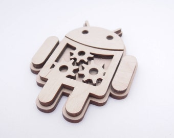 "3D android decoration with neodymium magnet - Laser cut - 1.57x1.18"" - Crazy gift - Available for larger quantities - With Magnet"