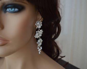 Earrings. Wedding earrings,Crystal Earrings, Bridal Earrings.