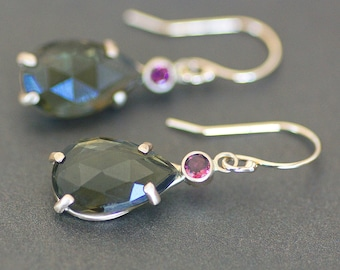 Green Tourmaline Teardrop / Pear Earrings in 14K Yellow Gold with Pink Tourmaline Accents - 8x13mm Natural Rose Cut Gemstone - OOAK