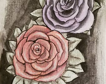 Roses in metallic watercolors original painting on acid free paper 4x6 inches