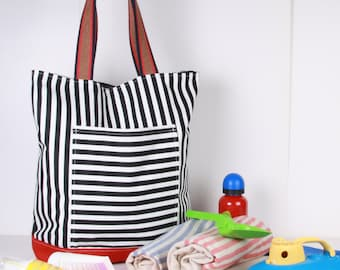 Beach, Large SUMMER TOTE... Shoulder Bag ,Everyday Purse,Canvas Black ,White ,Red , Cotton woven handles