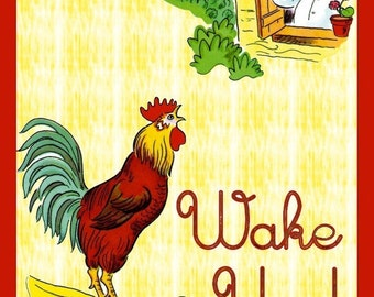 Wake Up Says the Rooster Refrigerator Magnet