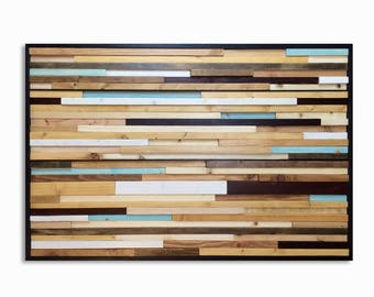 Blue Wash Reclaimed Wood Wall Art - Wood Art in Browns, Tan, Cream, Light Blue, and Gray Stripes - Abstract Art, Modern Art