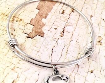 Super mom bracelet, Super man logo charm, for Teacher bangle bracelet, mother, dainty charm bracelet,  for Cancer, Nurse, Aunt, Sister