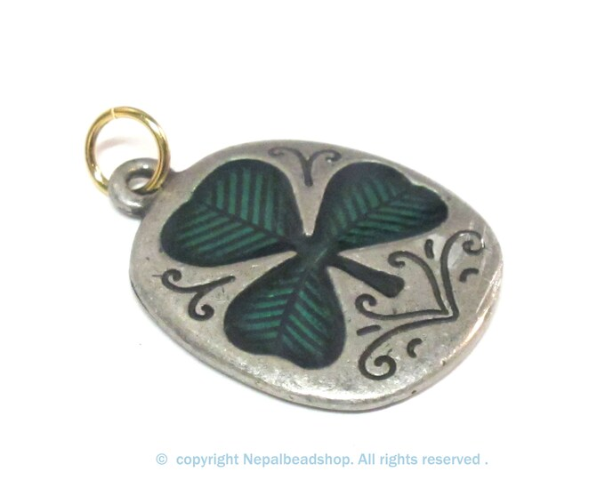 1 Pendant -  Reversible two tone Solid metal shamrock three petal cloverleaf good luck charm pendant - MG002KL