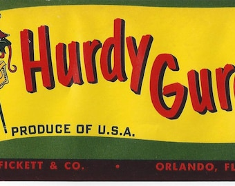 Hurdy Gurdy Vintage Crate Label, 1940s