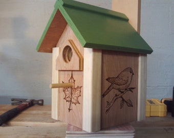 Hand wood burned decorative birdhouse