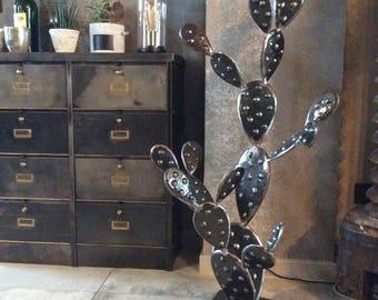 Iron metal cactus sculpture