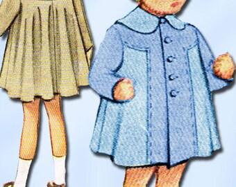 1940s Original Vintage McCalls Pattern 7547 Toddler Girls Swingback Coat Sz3
