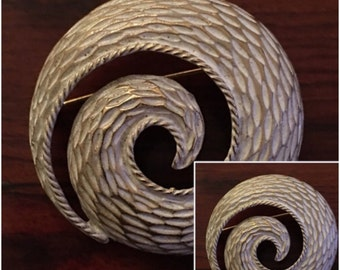 Vintage Swirl White and Goldtone Brooch  Emmons