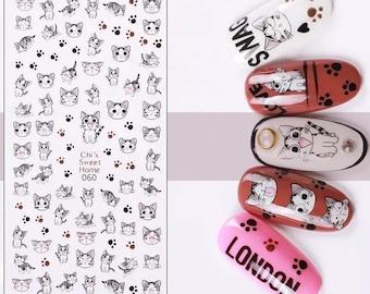 Gray tabby cat cute nail decal sticker sheet x 1