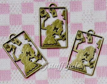 Alice & Flying cards - 3 pieces - Alice in Wonderland themed charms