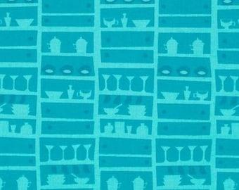Happy days lady kitchenware blue patchwork fabric