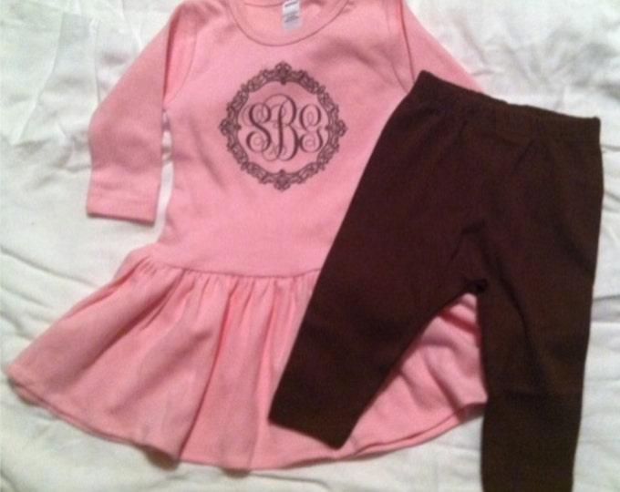 Infant, Toddler, Yth Monogrammed Long-Sleeved Dress and Leggings (Leggin) Pink, Apple Green, Lavender, Lemon dress w/Chocolate or black pant