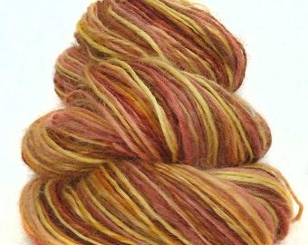 Handspun handdyed yarn Wensleydale wool mulberry silk