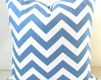 BLUE PILLOWS Denim Blue Throw Pillows Blue Pillow Covers 16x16 18 20 SALE.  Baby Boy Blue Chevron pillow Covers home and living