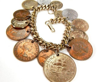 Coin charm bracelet with international coins on gold chain vintage from 1950s // world coins // collectable jewelry // glogal jewelry