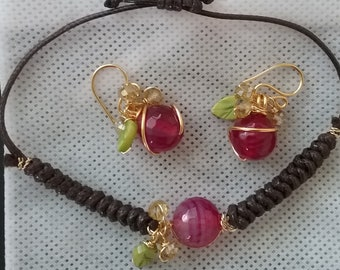 Set of agate earrings and leather woven agate bracelet armband wristband