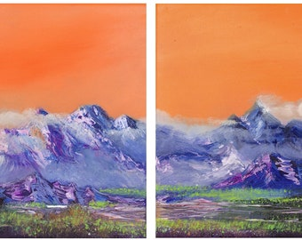 Mountains landscape Diptych original oil painting, Mountains diptych oil painting, Mountainscape painting, oil on canvas painting