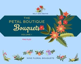 Floral Bouquet Clip Art Vol. 1- Part of the Petal Boutique Collection - Blog Graphics - Instant Download