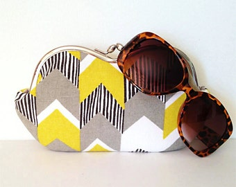 Lare sunglass case, Yellow and Gray Chevron Stripe large sunglass case or small clutch