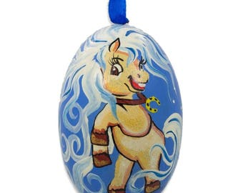 "3"" Pony Horse Wooden Christmas Ornament"