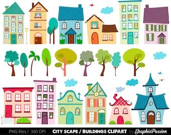Houses Clip Art Set- houses clipart, cute houses, neighborhood, trees, church, bakery, buildings, school instant download
