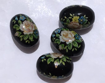 4 Black and colourful floral Japanese tensha acrylic oval beads