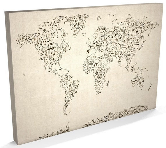 World map music notes canvas musical notes world map box like this item gumiabroncs Choice Image