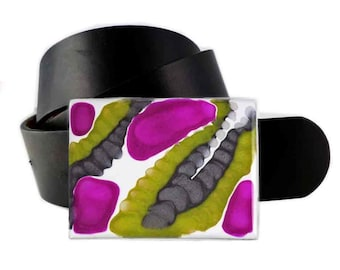 Rectangle Belt Buckle Hand Painted Enamel in Orchid and Olive Green with Gray Enamel Custom Colors Available