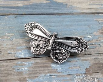 Spoon Butterfly Hair Clip - Inspired by Antique Victorian Silverware - Handmade French Barrette - Handcrafted Hair Accessories by Doctor Gus