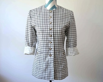Vintage Plaid Shirt Jacket Black and White Check with Pearl Buttons - B&W Blazer - Preppy - By Adolfo - Small Size 4