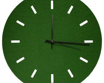 "Round Wool Felt Clocks - 11.25"" Diameter, 100% Wool, Natural Cork, Multiple Colors Available"