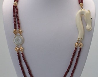 "Faceted Ruby bead Necklace with jade, bone & Diamonds 34"" long 18K yellow gold"